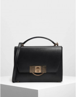 charles and keith  Black Chain Detail Turn Lock Bag