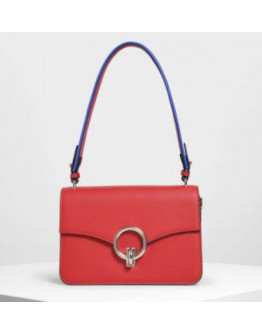 Charles & Keith Chain Link Details Front Flap Shoulder Bag - RED