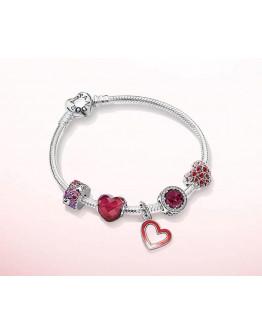 PANDORA Burst Heart of Love Bracelet Set