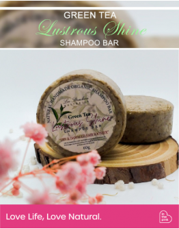 """Green Tea Lustrous Shine Shampoo Bar """"Dry & Damaged Hair Soother"""" with Hair Wonder Conditioner Bar"""