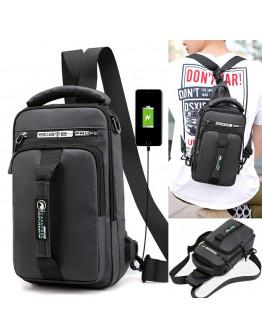 NEO HAODIER USB Charging Chest Bag Men Anti-theft Sling Shoulder Bag Waterproof Messenger Bag