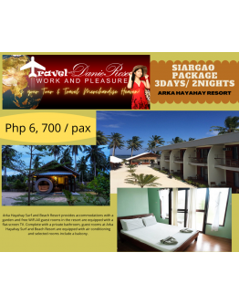 ARKA HAYAHAY RESORT – SIARGAO TOUR PACKAGE 3Days/ 2Nights