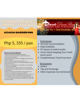ACACIA GARDEN INN - CORON TOUR PACKAGE 3Days/ 2Nights