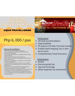 AQUA TRAVEL LODGE – EL NIDO TOUR PACKAGE 3Days/ 2Nights