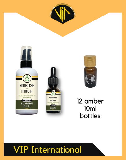 VIP KOMBUCHA + MATCHA SUPREME RELIEF OIL FACE OIL AND 10ML AMBER (12PCS)