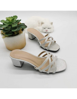 NN#305 2-Inch Premium Multi-Cross Strap Glitter Block Heels