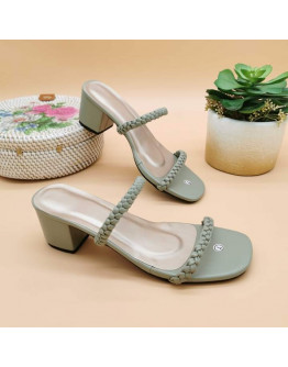 NN#333 2-Inch Double Braided Leather Strap Block Heels