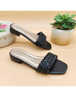 NN#343 1-Inch Braided Leather Strap Square Toe Block Heels