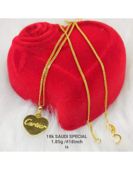 Necklace with Pendant 18k Saudi Gold