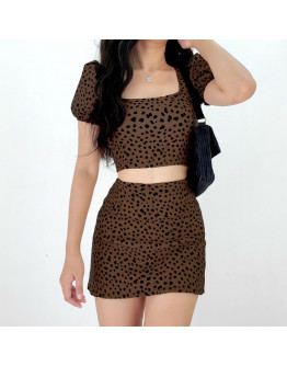 Square neck Puff Seeve Terno Skirt