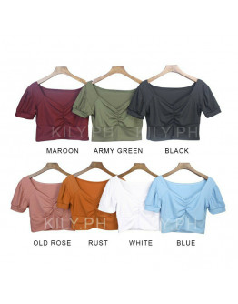 Crop Top for Women Cinched Cut V-neck Knitted Tops Basic Shirt
