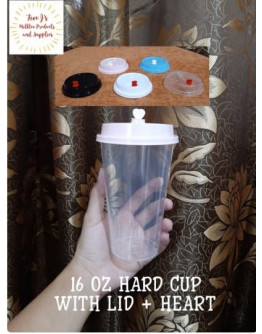 16 OZ HARD CUP WITH LID + HEART